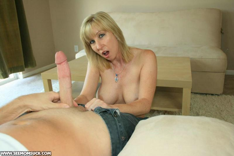 Moms sucks huge cock