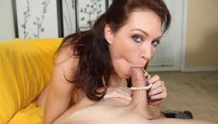brunette babe deepthroating a cock