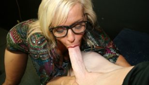 Mrs. Riley sucks the cock of a younger man