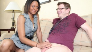 mature interracial handjob