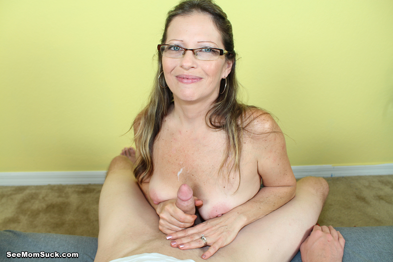 Hot glasses sucking dick mom