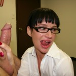 Angie Noir tugging cock