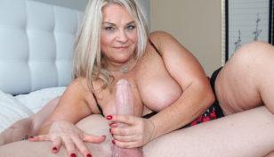 MILF Chloe stroking cock