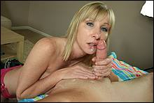 Hot Blond Mom In A Bikini Giving A Sloppy Blow Job