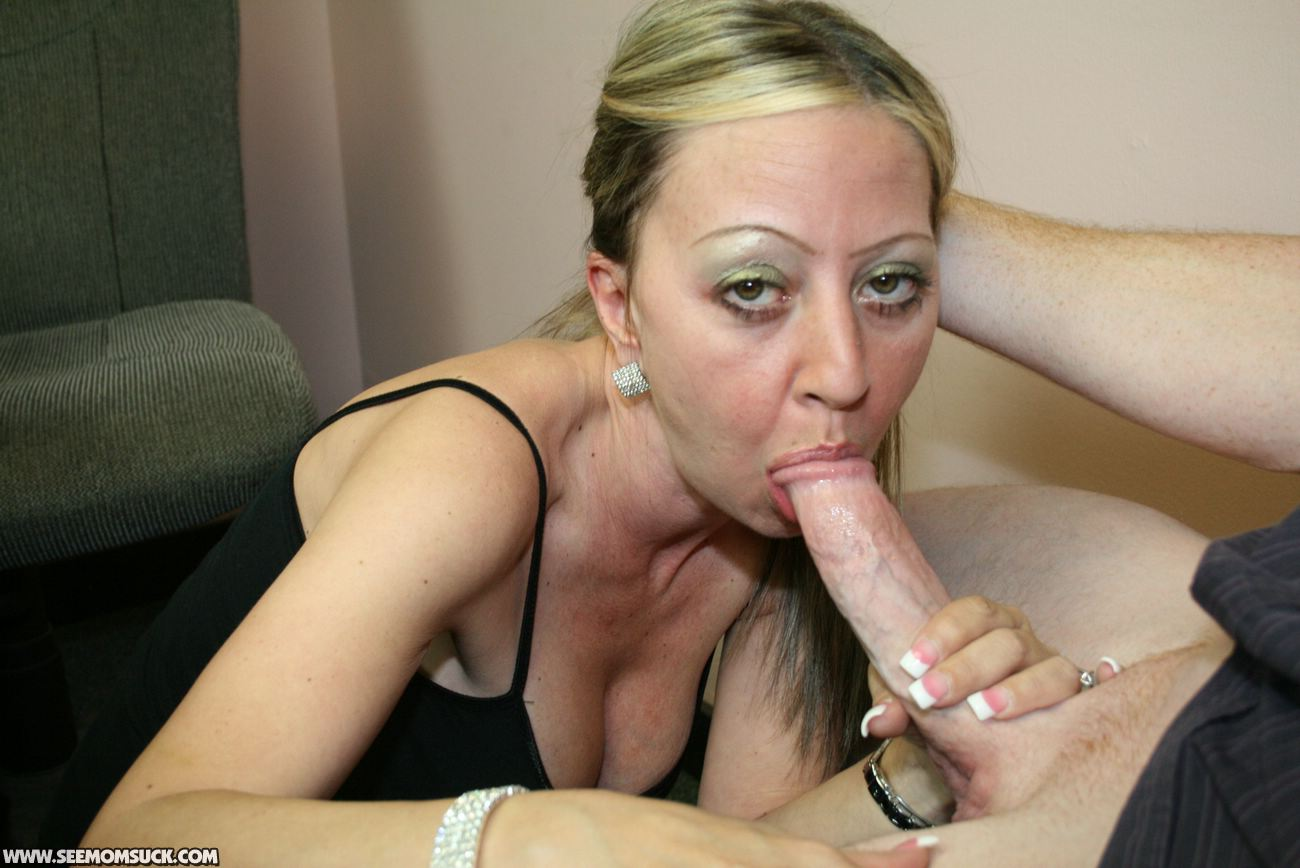 Moms first black blowjob