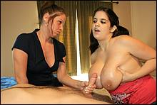 Lucky Stud Gets A Freaky Hand Job From A Big Titted Teen And A Horny Mom
