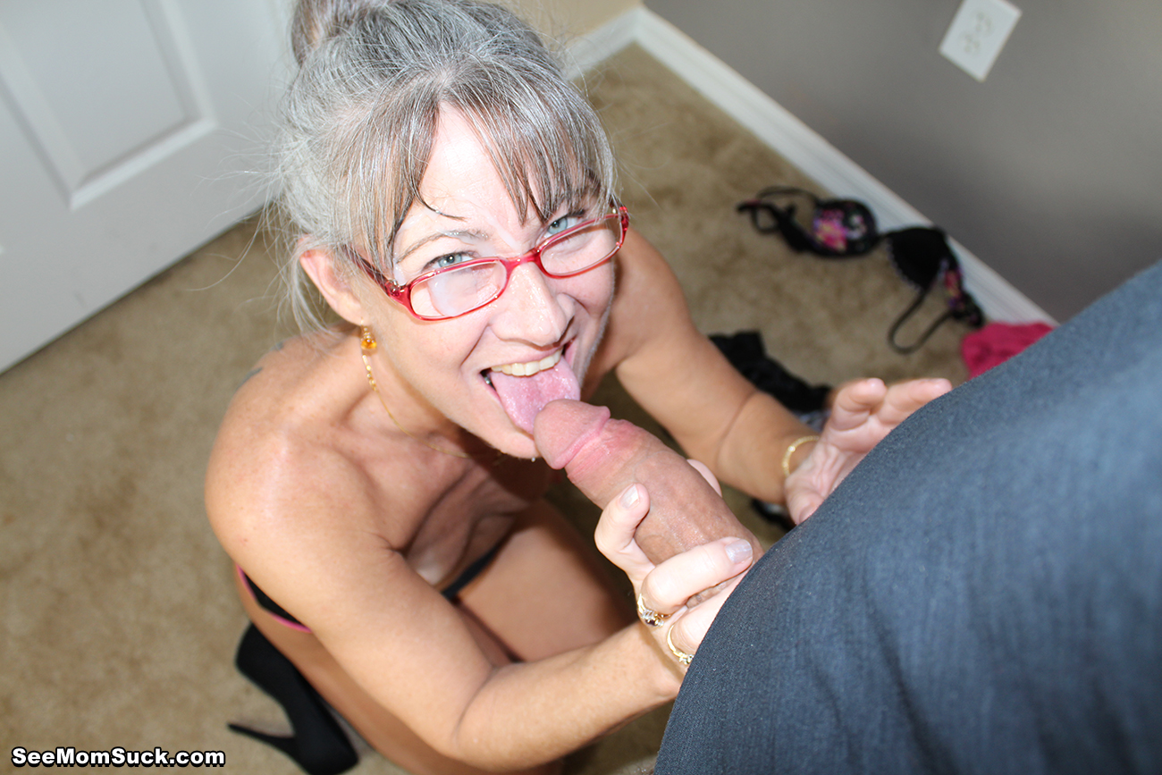 Jealous hairy mom sucking dick